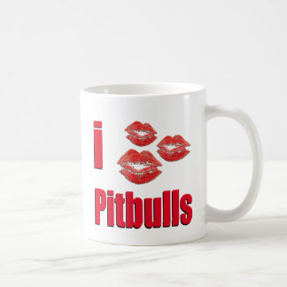 I Love Pitbull Dogs, Lipstick Kisses Crazy Classic White Coffee Mug