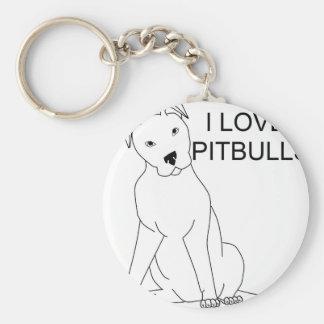 I Love Pitbulls Basic Round Button Keychain