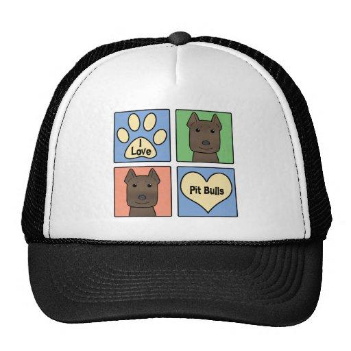 I Love Pitbulls Mesh Hats