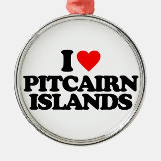 I LOVE PITCAIRN ISLANDS CHRISTMAS TREE ORNAMENT