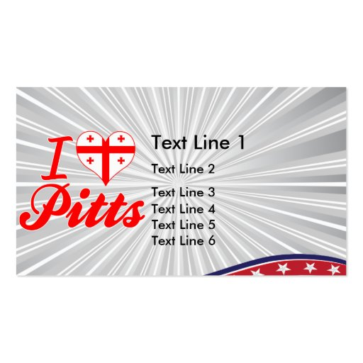 I Love Pitts, Georgia Double-Sided Standard Business Cards (Pack Of 100)