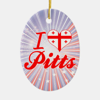 I Love Pitts, Georgia Double-Sided Oval Ceramic Christmas Ornament