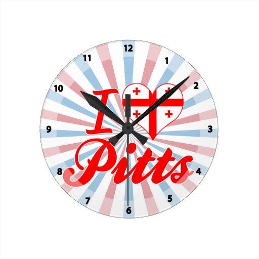 I Love Pitts, Georgia Round Wallclock