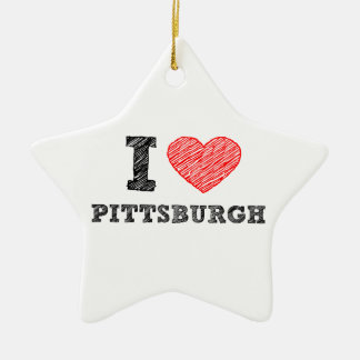 I-Love-Pittsburgh Double-Sided Star Ceramic Christmas Ornament