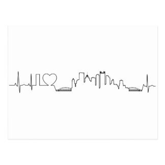 I love Pittsburgh in an extraordinary ecg style Postcard