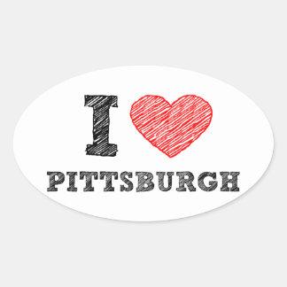 I-Love-Pittsburgh Oval Sticker