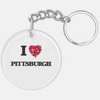 I love Pittsburgh Pennsylvania Double-Sided Round Acrylic Keychain
