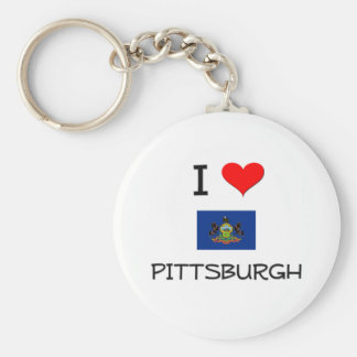 I Love Pittsburgh Pennsylvania Basic Round Button Keychain