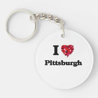 I love Pittsburgh Pennsylvania Single-Sided Round Acrylic Keychain