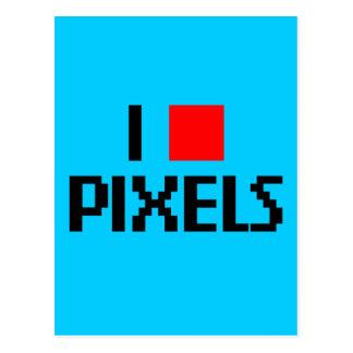 I Love Pixels Dark Postcard