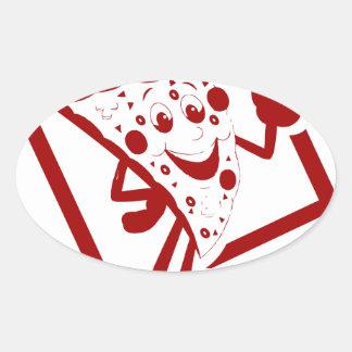 I Love Pizza Oval Sticker