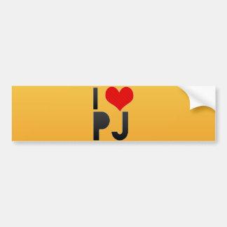 I Love PJ Bumper Stickers