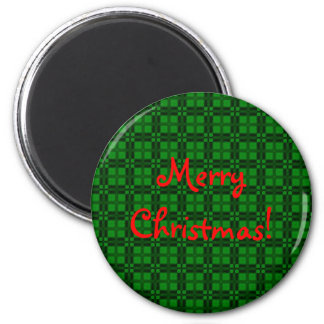 I Love Plaid- Christmas Green 2 Inch Round Magnet