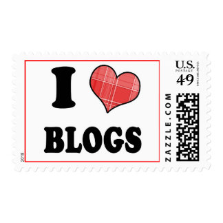 I Love (Plaid Heart) Blogs Postage Stamp