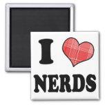 I Love (Plaid Heart) Nerds 2 Inch Square Magnet