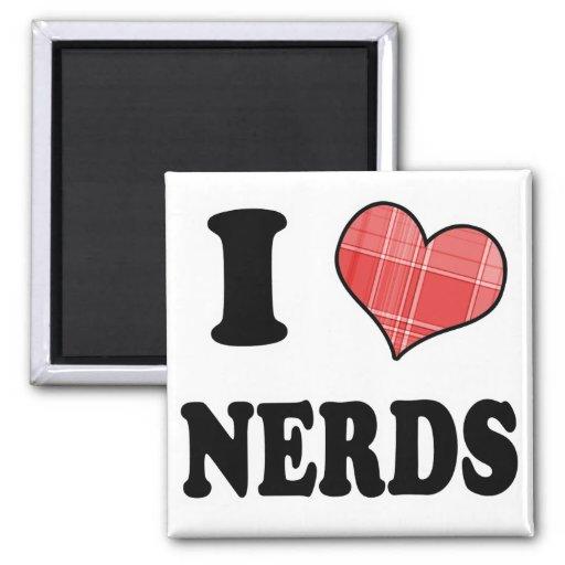 I Love (Plaid Heart) Nerds Magnet