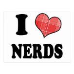 I Love (Plaid Heart) Nerds Post Card