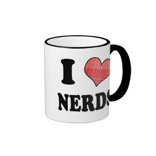 I Love (Plaid Heart) Nerds Ringer Coffee Mug