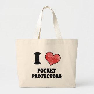 I Love (Plaid Heart) Pocket Protectors Large Tote Bag