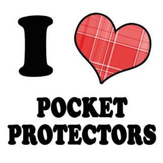 I Love (Plaid Heart) Pocket Protectors Standing Photo Sculpture