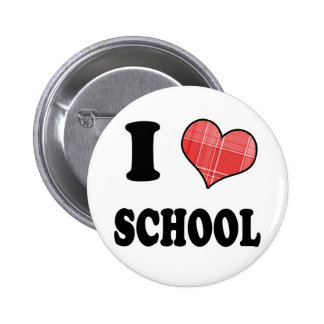 I Love (Plaid Heart) School Buttons