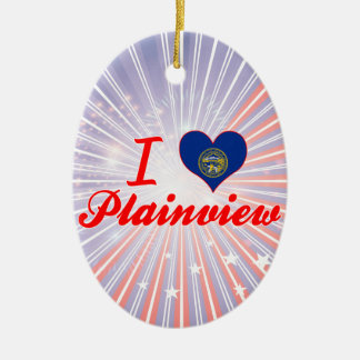 I Love Plainview, Nebraska Double-Sided Oval Ceramic Christmas Ornament