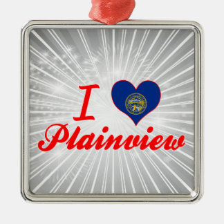 I Love Plainview, Nebraska Square Metal Christmas Ornament
