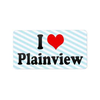 I Love Plainview, United States Address Label