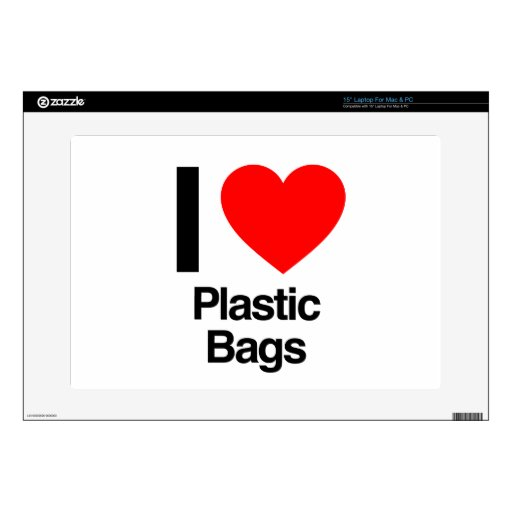 i love plastic bags decal for laptop