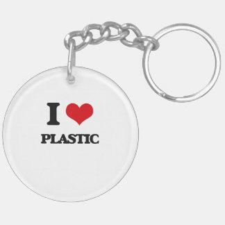 I Love Plastic Round Acrylic Keychain