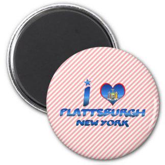 I love Plattsburgh, New York 2 Inch Round Magnet