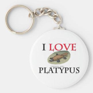 I Love Platypus Basic Round Button Keychain