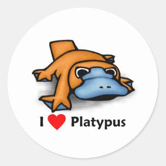 I love Platypus Classic Round Sticker