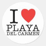 I love Playa del Carmen Pegatina Redonda