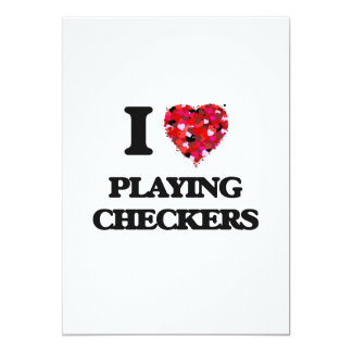 I love Playing Checkers 5x7 Paper Invitation Card