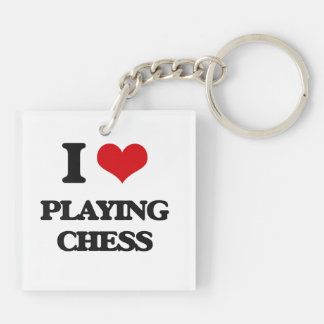 I love Playing Chess Double-Sided Square Acrylic Keychain
