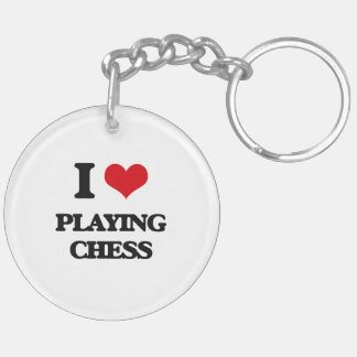 I love Playing Chess Double-Sided Round Acrylic Keychain