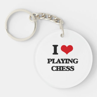I love Playing Chess Single-Sided Round Acrylic Keychain