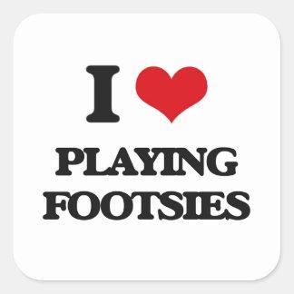 I Love Playing Footsies Square Sticker