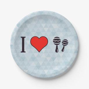 I Love Playing Maracas Paper Plate & Maraca Plates | Zazzle