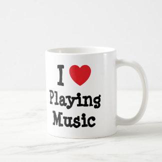 I love Playing Music heart custom personalized Coffee Mugs