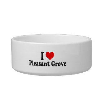I Love Pleasant Grove, United States Cat Water Bowl