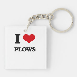 I Love Plows Square Acrylic Keychain