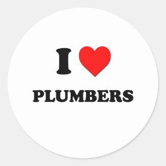 I Love Plumbers Round Stickers