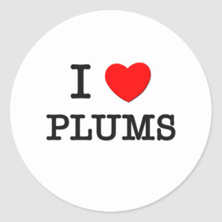 I Love Plums Classic Round Sticker