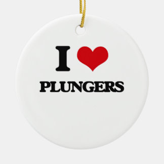 I Love Plungers Double-Sided Ceramic Round Christmas Ornament