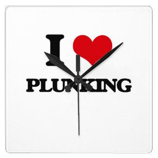 I Love Plunking Square Wall Clocks