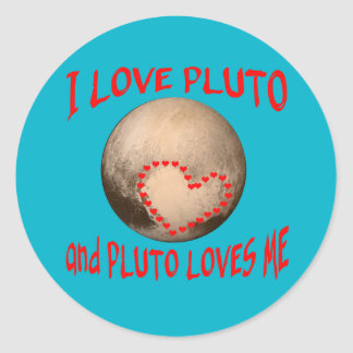 I Love Pluto and Pluto Loves Me Classic Round Sticker
