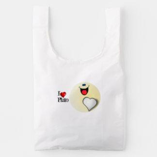 I love Pluto and the heart Reusable Bag