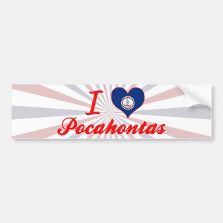 I Love Pocahontas, Virginia Car Bumper Sticker